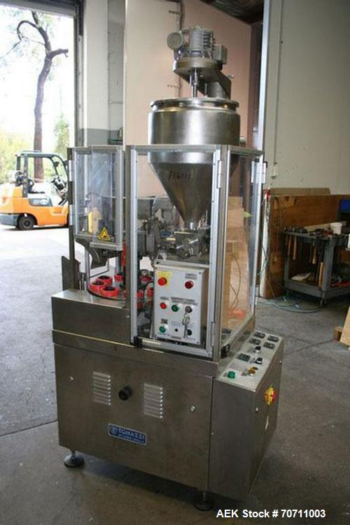 Used-Tonazzi Colibri 40 Model Plastic Tube Filler. Machine has 9 Stations, water jacketed hopper with agitator, used for pla...