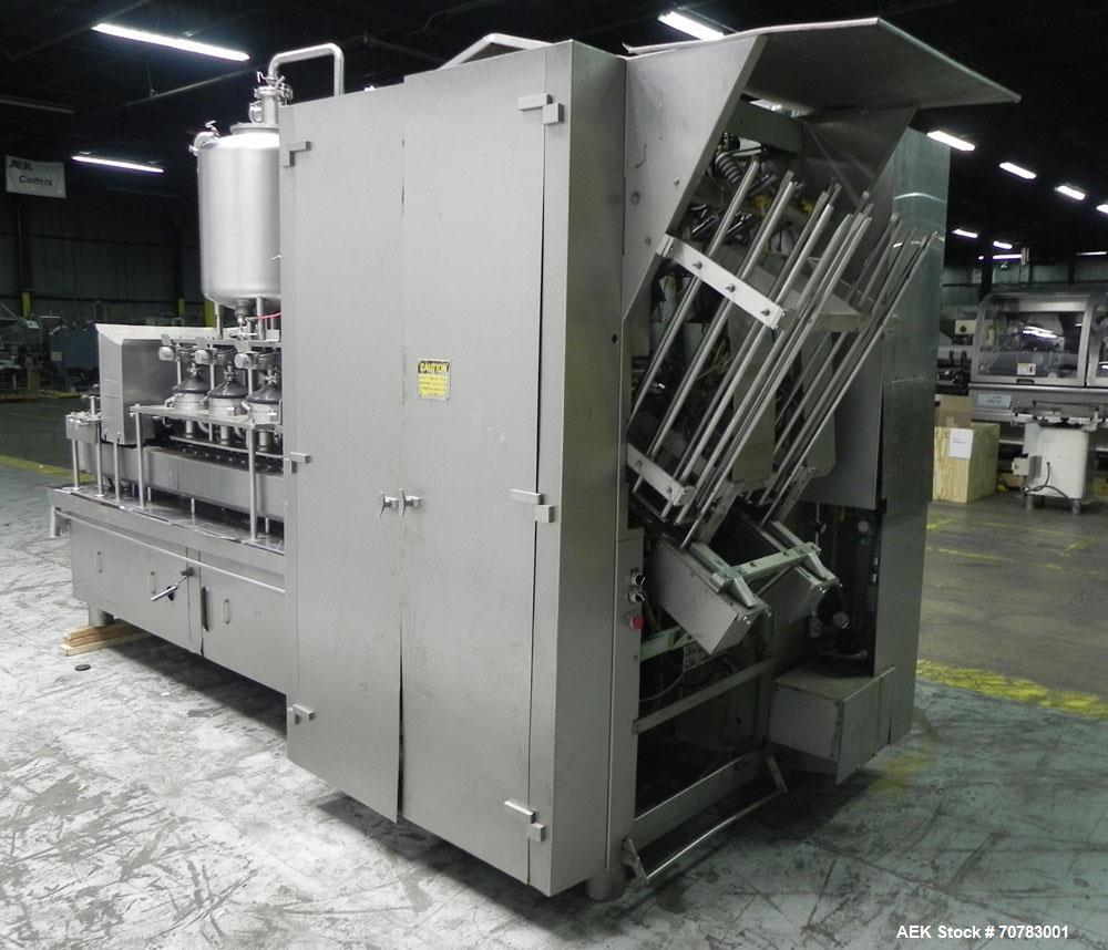 Used- Cherry Burrell / Evergreen Q7 Gable Top Form fill seal carton filling machine, Model Q-7, Serial #4173, Handles 1/2 Pi...