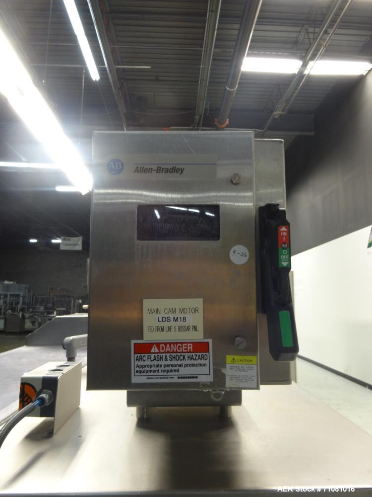 "Used-Bossar Model B 3700, Horizontal Pouch Form fill seal, Allen-Bradley controls, produces horizontal pouches from 5"" x 5"" ..."