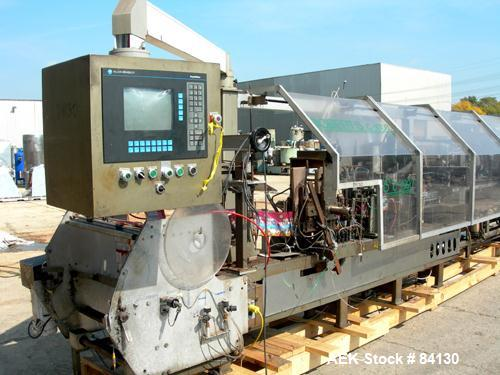 Used- Roberts Packaging Model C-1000 horizontal gusseted stand up pouch horizontal form-fill-and-seal machine capable of spe...