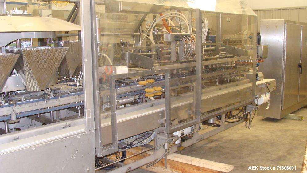 Used-Roberts Packaging Model C-1500 Continuous Motion Horizontal Form Fill Seal Machine. Capable of speeds up to 100 pouches...