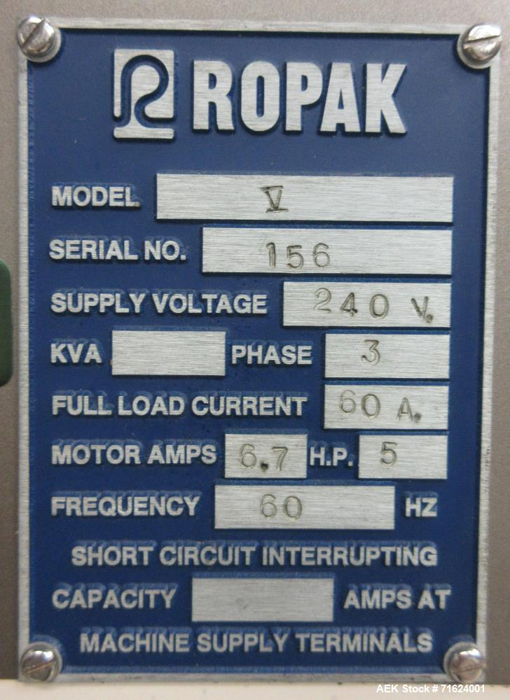 Used- Ropak Model V High Speed Rotary Pouch Machine