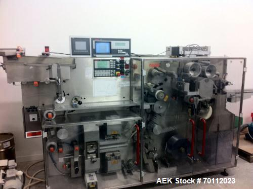 Used- Bosch Pharmaceutical Blister Pack Solid Dose Thermoformer, Model TLT 1200. Machine is capable of speeds up to 200 blis...