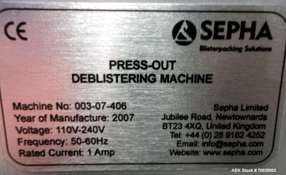 Used- Sepha Model T406-001 Press Out Semi-Automatic Deblistering Machine. Can deblister reject packs at a rate of up to 40 b...