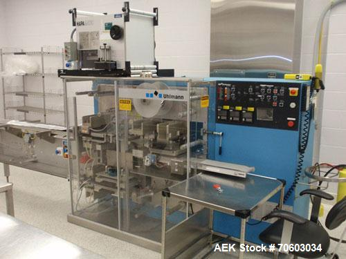 Used- Uhlmann Thermoforming Blister Packaging Machine, Model UPS300. Currently running a 150mm x 120mm card, with Hapamatic ...