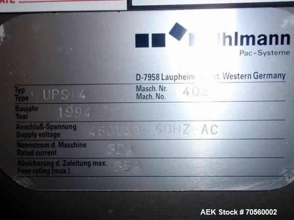 Used- Uhlmann thermoforming blister packaging machine, model UPS4MT