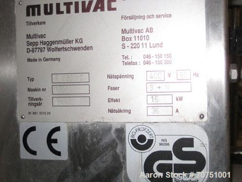 "Used-Multivac R230 Thermoformer for Rigid Film. Film width 14.2"" (350 mm). Comprised of (1) vacuum, (1) gas injection unit. ..."