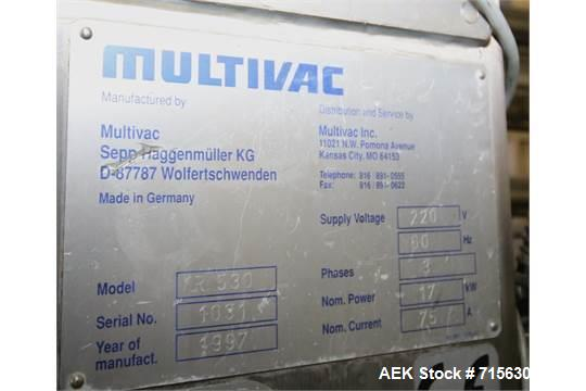 Used-1997 MultiVac R530 Horizontal Form, Fill and Seal Vacuum Packaging Machine, S/N 1031 with Busch 20 hp Vacuum Pump, Spar...