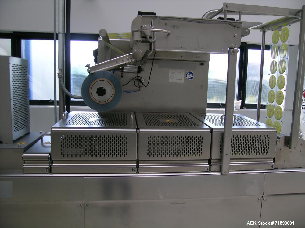 Used- Multivac R255 Forming Station, Stretching Unit, Busch CB 250/80. Upper web chain guide. Free space ink jet, sealing st...