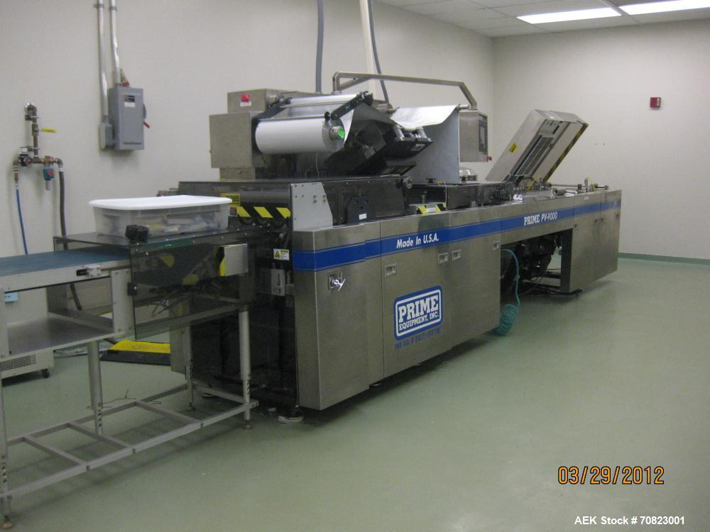 Used-Prime Packaging System Model PV-9000.  Control out voltage 24 VDC, 220 volts, 60 cycle, 3 phase, main breaker 80 amp, M...