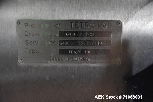Used- Tetra Pak TBA/8 Aseptic Brick Pack Machine