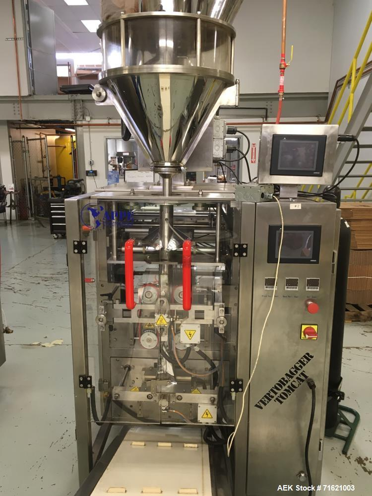 Used- American Packaging and Plant Equipment Vertobagger Tomcat Machine. 50 Liter Hopper, 20g-1500g fill weight, Servo motor...