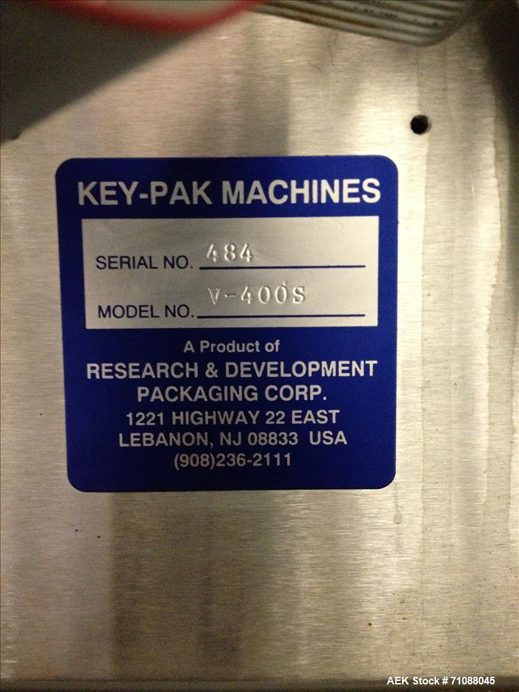 "Used- Key-Pak Model V400S Vertical Form, Fill, & Seal Machine. Bag size range: (Width) 6"" - 15"" (Length) 6"" - 30"". Has Marke..."