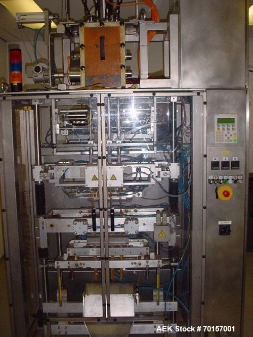 Used-Masek Stickpack Machine, HBV4C Stick Pack vertical form fill seal machine.rated capacity 160 sticks per minute, with in...