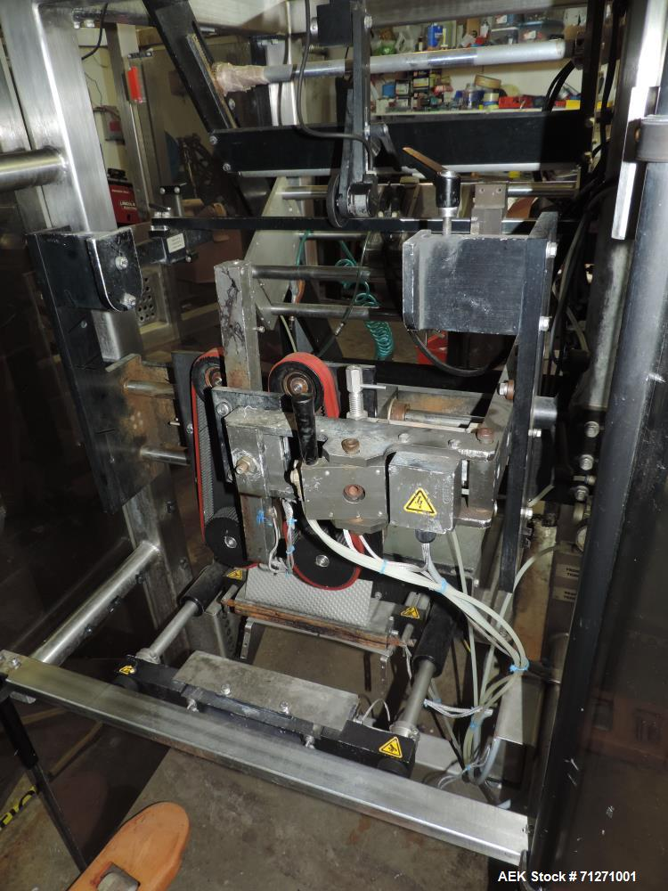 Used- Matrix Mercury Vertical Form Fill Seal Machine, Model Mercury. 70 bags per minute speed capability. Bag size range: (W...