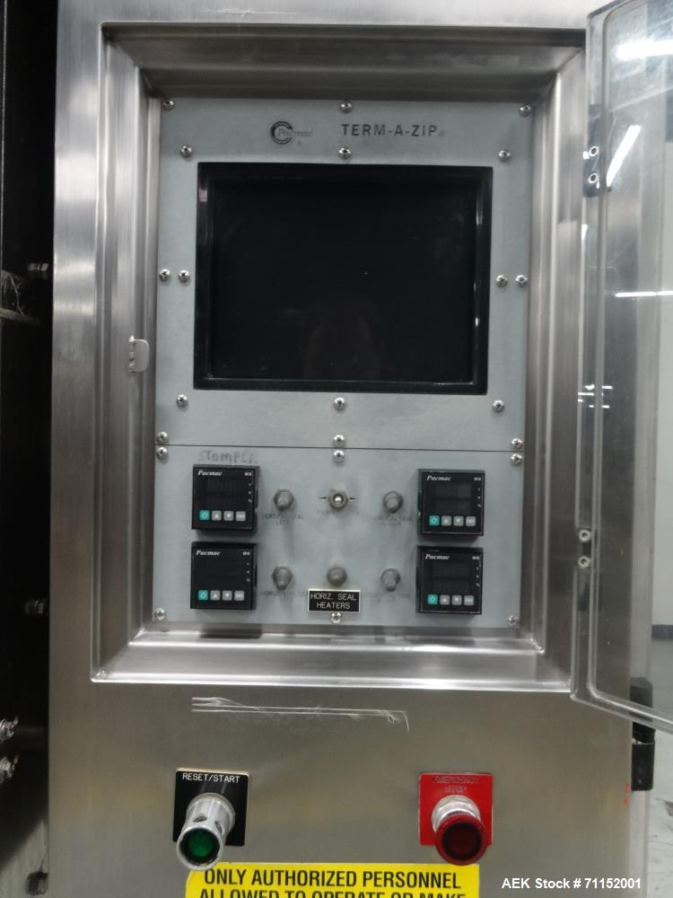 Used- Pacmac Model 9500 Vertical Form Fill and Seal Machine Thermazip Slider Zip