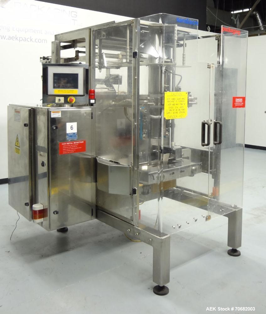 Used- Sandiacre Model TG400-LX Single Tube Vertical Form, Fill, & Seal Machine. Capable of up to 60 bags per minute. Has a b...