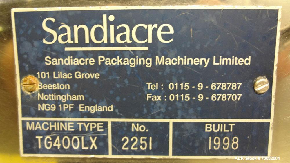 Used- Sandiacre Model TG400-LX Single Tube Vertical Form, Fill & Seal Machine.