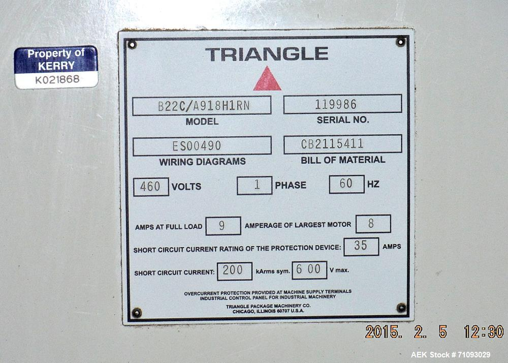 Used-Triangle Vertical Form Fill & Seal Machine, Model B22C/A918H1RN.  1/60/460V  Serial # 119986