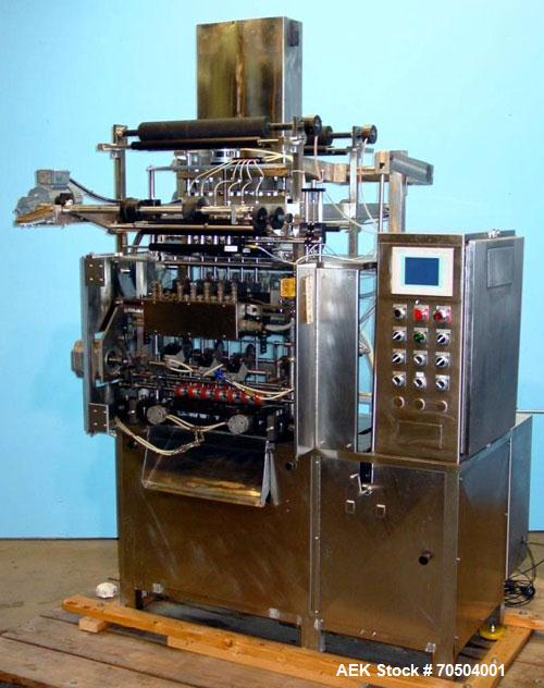 Used- Ropak Model Liquid 18-V (6) Head VFFS Pouch Filler. For single or dual packs, for 1/4 oz to 1 oz pouches of gels, cond...