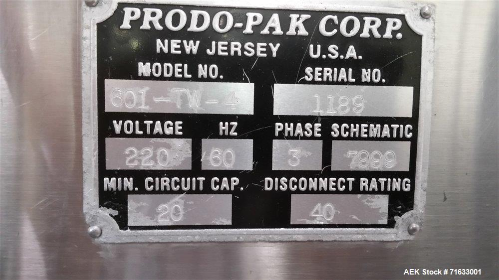 Used- Prodo-Pak Model 601-TW4 Vertical Form Fill Seal Machine