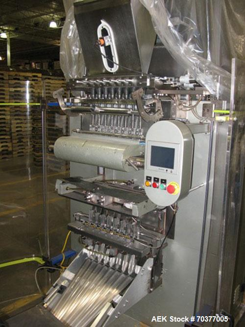 "Used-Aranow Model Arafrom 8 Vertical Form Fill Seal ""Stickpack"" Machine.  Last running 23 mm wide x 120 mm long stickpacks a..."