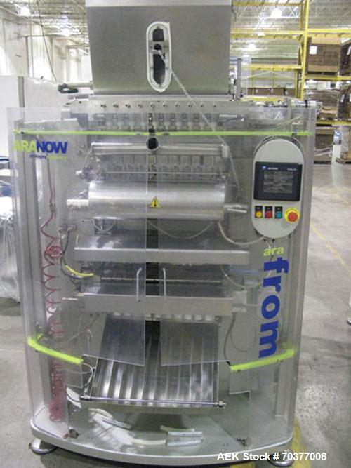 "Used-Aranow Model Arafrom 10 Vertical Form Fill Seal ""Stickpack"" Machine.  Last running 23 mm wide x 120 mm long stickpacks ..."