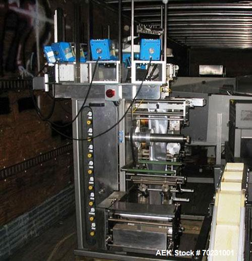 "Used-Wrap Ade VSP Jr Vertical Strip Packager. Has 6"" web width, Servo knife cut off, interlock guards. Unit has AB PLC contr..."