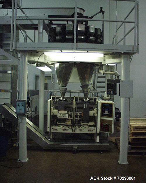 Used-Used: Hayssen 2 + 2 twin tube bagger for laminate films. Includes platform, Yamato 16-head scale, bucket elevator and d...