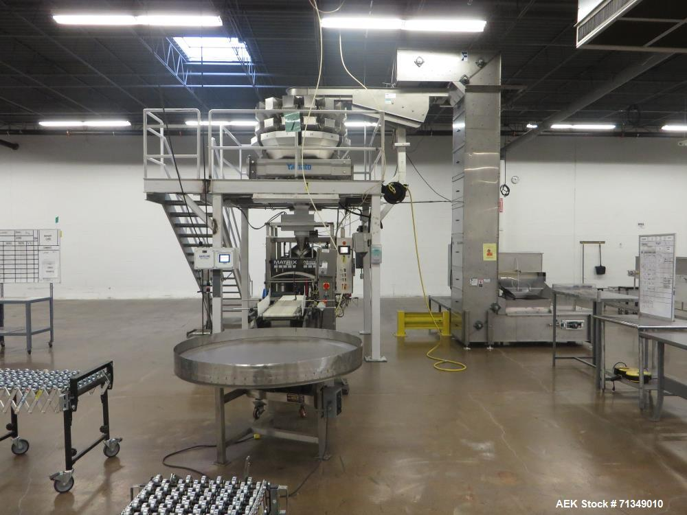 Used-Matrix Packaging  Model  201318R  Vertical form fill and seal packaging system. Complete line includes Yamato Adw-714sv...