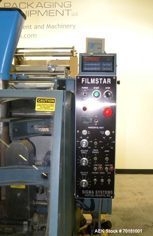 Used- Sigma Systems Filmstar Series Vertical Form Fill and Seal Packaging Machine, Model V. Capable of speeds up to 120 bags...