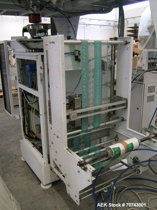 Used-Simionato Packaging Line comprisin of one multihead weigher,  one platform, one VFFS machine.  Including one forming tu...