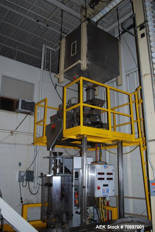Used-Weigh Pack Systems Bagger, with 2 head scale. Model Vertek 1150. Weigh Pack Systems Tiger Scales V-7TW/TP, USDA stainle...