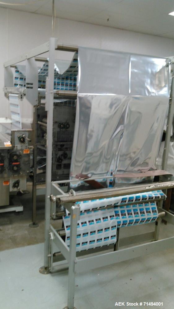 Used- Circle Packaging Single Fold Horizonal Towelette Form, Fill and Seal Machine; Model H22S. Product flow from right to l...