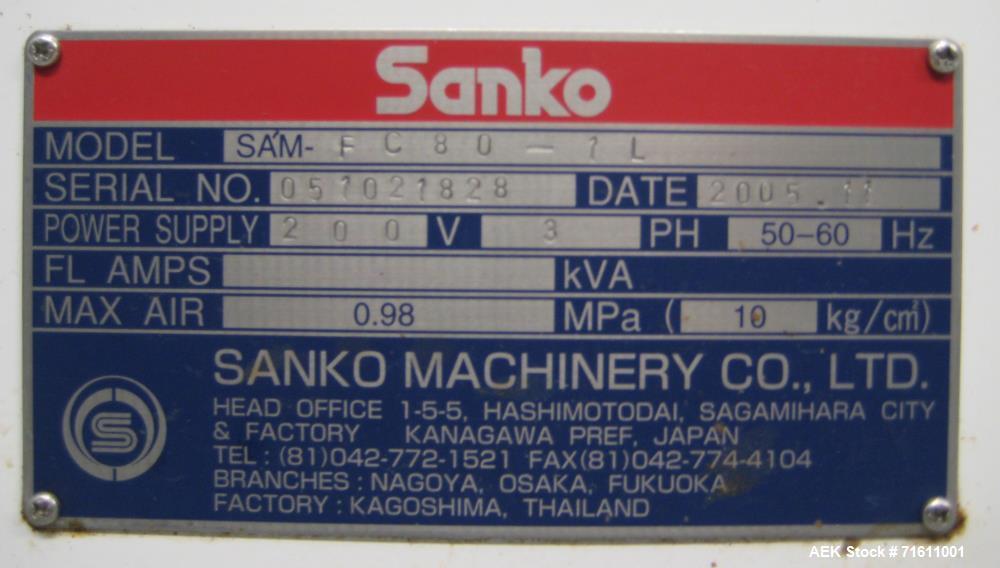 Used- Sanko Model FC-80 Single Lane Vertical Stick Pack Machine