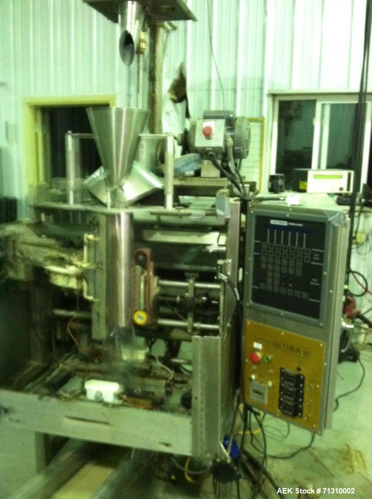 Used- Hayssen Ultima II Vertical Form Fill Seal with Spee Dee Volumetric Cup Filler, Model 12-19HP. Stainless steel frame. M...