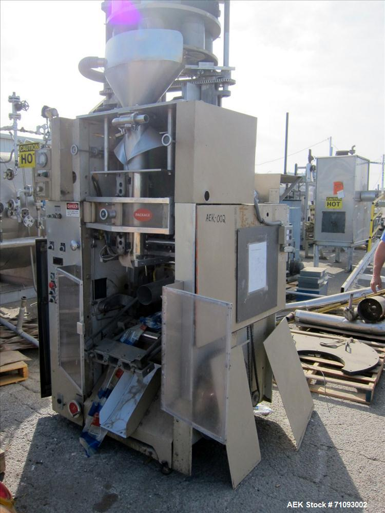 "Used-Transwrap Model S-750 Vertical Form Fill and Seal Machine. Includes top-mounted volumetric feeder. Has a 24"" web width,..."