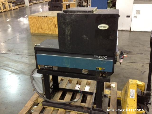Used- Nordson 3700 Hot Melt Glue Unit, 50/60 hz, 27 amp, maximum 1/3 watts. Maximum temperature range 450 deg F.