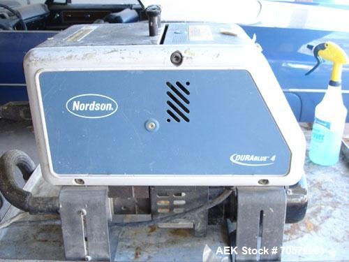 Used-Nordson Durablue 4 Hot Melt Glue System.  Has a single hose and hand held gun.  Last used in a foam operation.