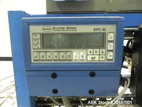 Used- Nordson Model ProBlue 15 Hot Melt Glue System. Has Nodson model EPC 30 Eclipse series pattern controller. Has LogiComm...