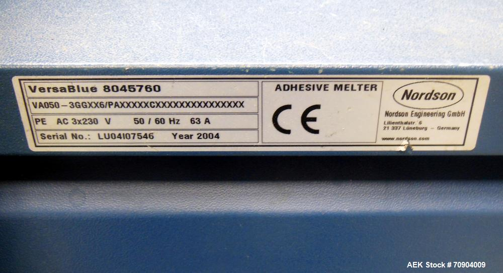 Used- Nordson VersaBlue 50 Glue System. Built 2004. Has a holding capacity of 50 Liters, Maximum 6 hoses/guns, throughput pe...