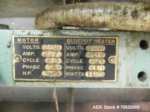 Used- Mateer Burt 704 Automatic Roll Through Hot Glue Wraparound Labeler
