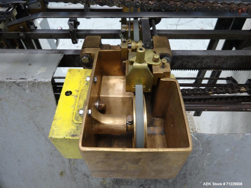 Used- Mateer-Burt Model AU-611-B Horizontal Roll Through Wraparound Glue Labeler