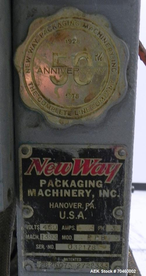 Used- NewWay Model EPB Roll Through Glue Wraparound Labeler. Capable of speeds up to 500 cpm. The EP is designed to handle c...