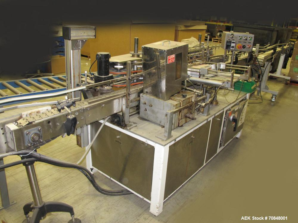 Used-Clowe Model 50 Hot Melt Upright Glue Labeler capable of speeds up to 500 containers per minute. Will handle bottles or ...