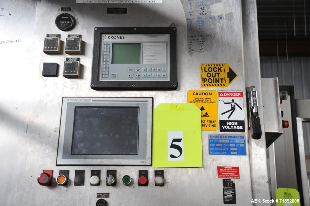 "Used- Krones ""Contiroll"" Automatic Rotary 15-Station Wraparound Glue Labeler"