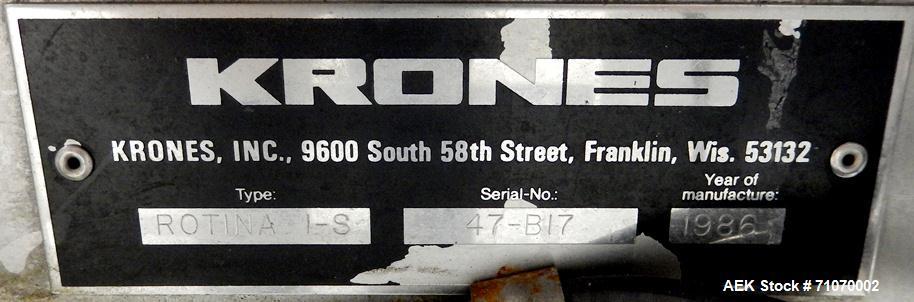 Used- Krones Model Rotina I-S Cold Glue Wraparound Labeler