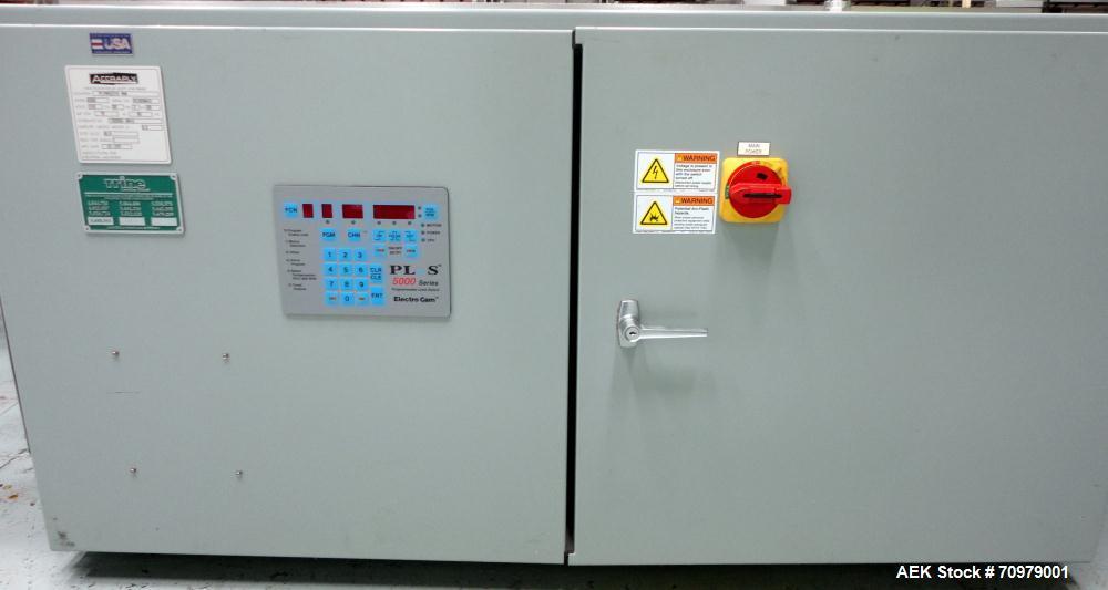 Used- Trine Model 4500CE Roll Fed Wraparound Hot Melt Labeler
