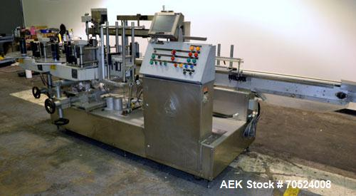 Used- Avery Model ALS 350 LW 1390 Front & Back Redundant Head Presure Sensitive Labeler. Will apply single side panel labels...