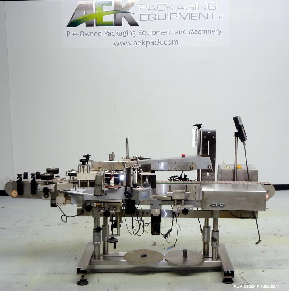 Used- CVC 400 II Front and Back Pressure Sensitive Labeler. Capable of up to 250 bottles per minute. Will apply labels in le...